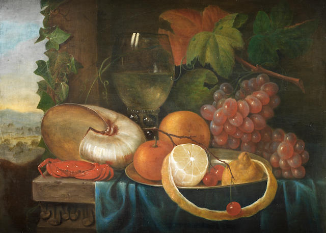 Circle of Johannes Cornelis de. Bruyn (Utrecht 1800-1844) A lemon, orange and cherries in a pewter dish with a crab, roemer and