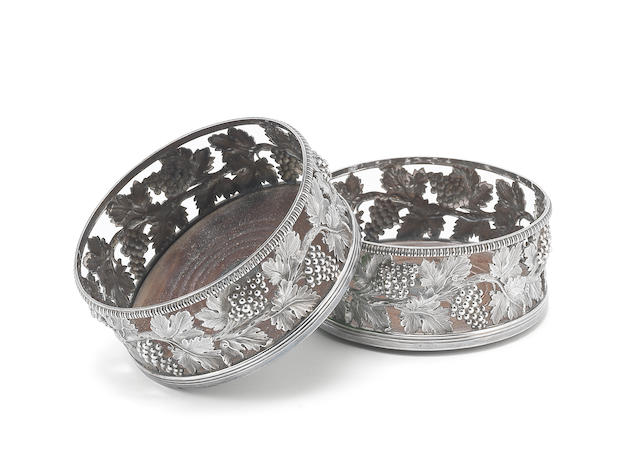 A pair of George III silver coasters by John Roberts & Co, Sheffield 1806  (2)