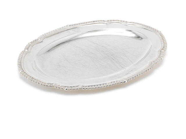 George III oval meat dish, engraved crests L.1791 (30oz)