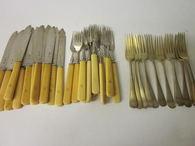 A set of twelve silver-gilt Old English pattern dessert forks, by E Viner,  Sheffield 1917,   (Qty)