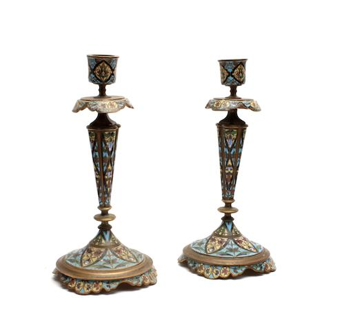 A pair of late 19th century French cloisonné enamel candlesticks