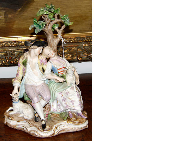 A Meissen style porcelain figure group
