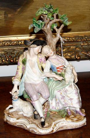 A Meissen style porcelain figure group