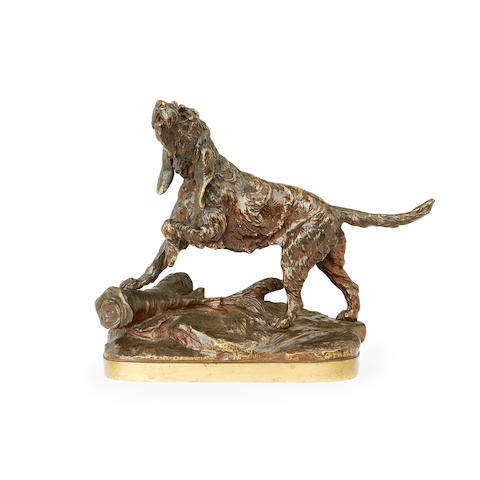 Prosper Lecourtier, French (1851-1924)  A bronze model of a hound