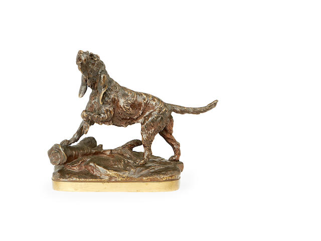 Prosper Lecourtier, French (1851-1924)  A bronze model of a hound