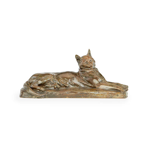 Louis Riche, French (1877-1949)  A bronze model of a cat cast by Susse Fres