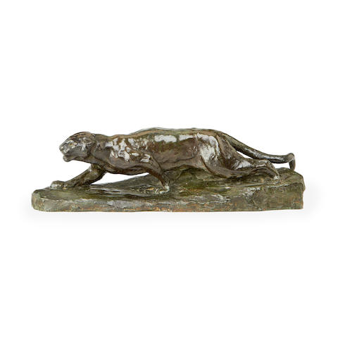 An early 20th century bronze model of a puma