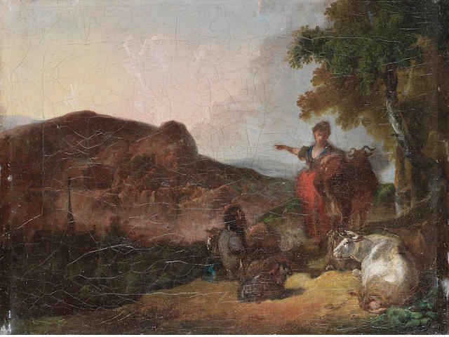 French School, 18th Century A shepherd and shepherdess tending their flocks in a rocky landscape