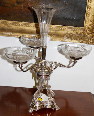 A late 19th Century silver plated epergne
