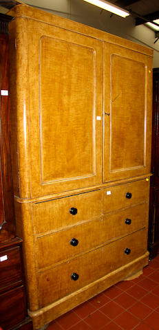 A Victorian painted pine faux maple linen press,