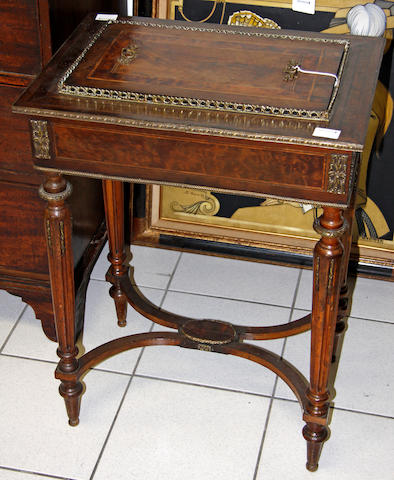 A Victorian walnut veneered and amboyner crossbanded rectangular jardiniere table,