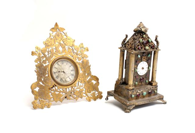 A late Victorian silver plated easel clock