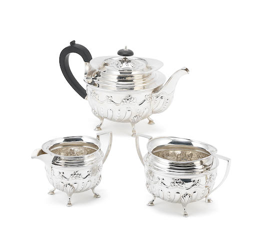 A 1905 Birmingham silver three piece tea service,