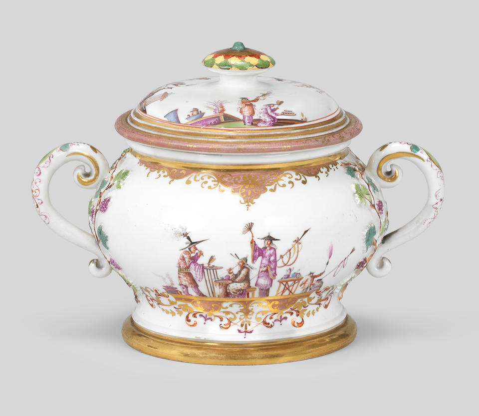 An extremely rare Meissen two-handled jar and cover, late 1720s