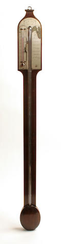A George III mahogany stick barometer, Molliner, Edinburgh