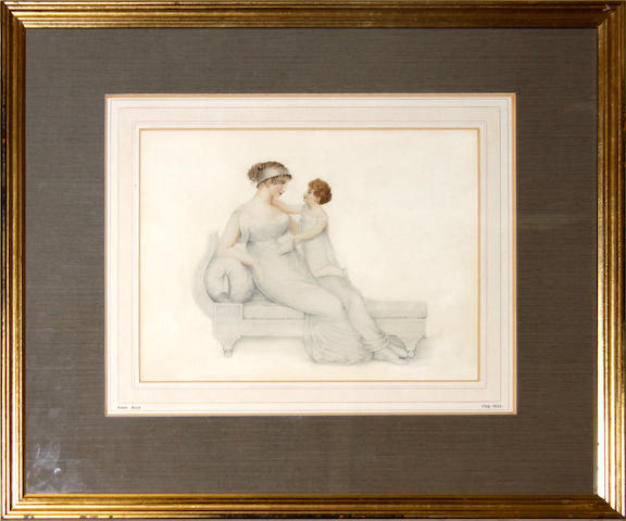 After Adam Buck, 19th Century A Mother and Child, reclining on a chaise longue; the former, wearing white Directoire-style dress with matching 'antique' headdress, her brown hair upswept in a Psyche knot; the latter, wearing white chemise dress and holding a book in the left hand