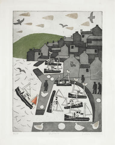 Julian Trevelyan (British, 1910-1988) Shetland Etching with aquatint printed in colours, 1977, on wove, signed, titled and numbered 8/50 in pencil, with margins, 480 x 340mm (18 7/8 x 13 3/8in)(PL) unframed