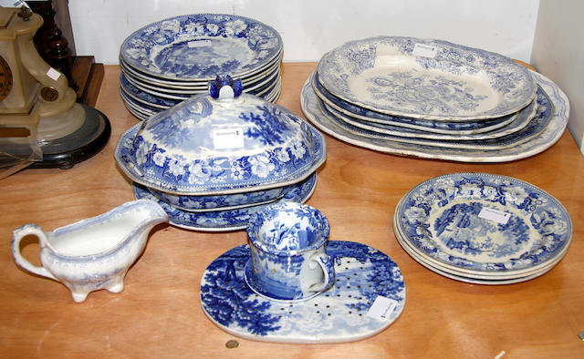 A collection of 19th Century blue and white printed earthenware, including the Asiatic Pheasant pattern,