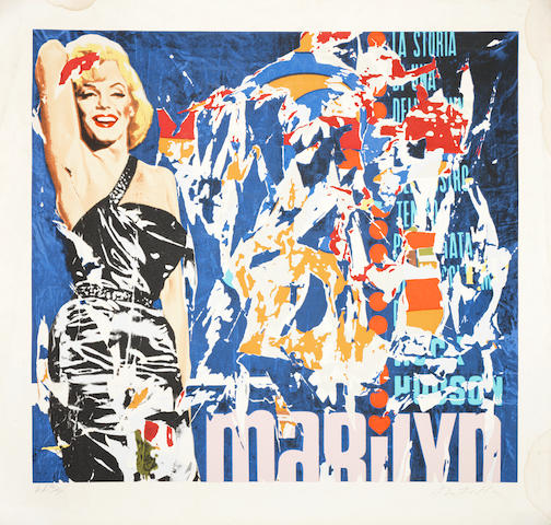 Mimmo Rotella (Italian, 1918-2006) Marilyn Lithograph in colours, on wove, signed and numbered 'AP 12/30' in pencil, 660 x 690mm (26 x 27 1/8in)(SH)   unframed