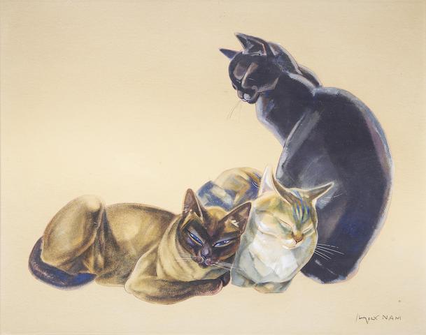 Jacques Nam (1881-1974) 'Trois chats'