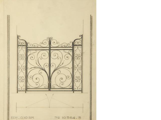 Edgar Brandt (1880-1960) Cinq dessins d'architecture