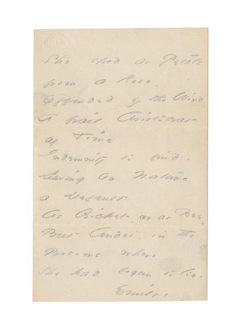 DICKINSON, EMILY (1830-1886, American poet) AUTOGRAPH MANUSCRIPT SIGNED OF HER LETTER-POEM BEGINNING 'SHE SPED AS PETALS FROM A ROSE...', [c.1865]