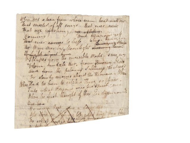 KEATS, JOHN (1795-1821) AUTOGRAPH MANUSCRIPT FROM THE DRAFT OF HIS POEM 'I STOOD TIPTOE UPON A LITTLE HILL', [1816]