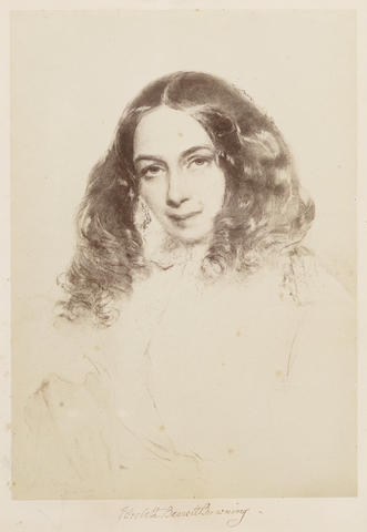 BROWNING, ELIZABETH BARRETT (1806-1861) PHOTOGRAPH OF THE PORTRAIT OF 1859 BY FIELD TALFOURD (1815-1874), SIGNED BELOW THE IMAGE ('ELIZABETH BARRETT BROWNING'), [Italy, 1859]