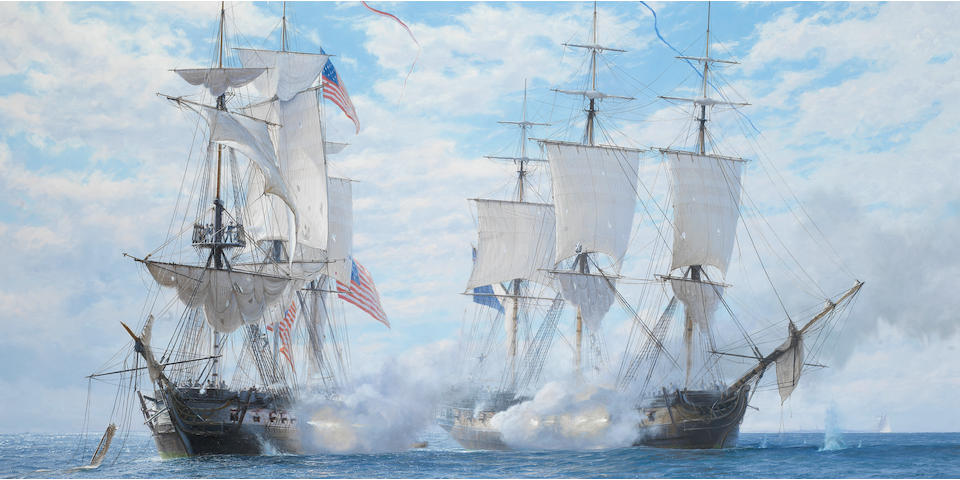 John Steven Dews (British, born 1949) The celebrated engagement during which H.M.S. Shannon captured the American frigate Chesapeake, 1st June 1813