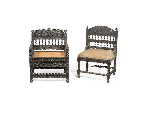 Two Coromandel Coast ebony and ebonised chairs