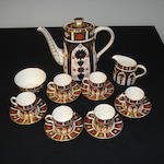 A 20th Century Royal Crown Derby Imari pattern coffee service of six place settings