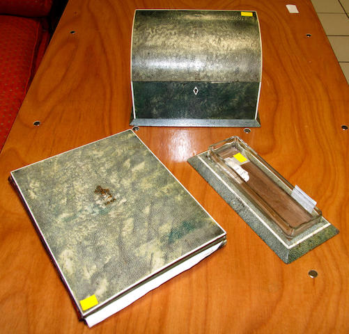 A Shagreen upholstered blotter, letter box, pen tray