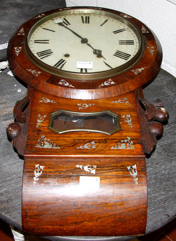 A Victorian rosewood and mother-of-pearl inlaid wall clock, 2