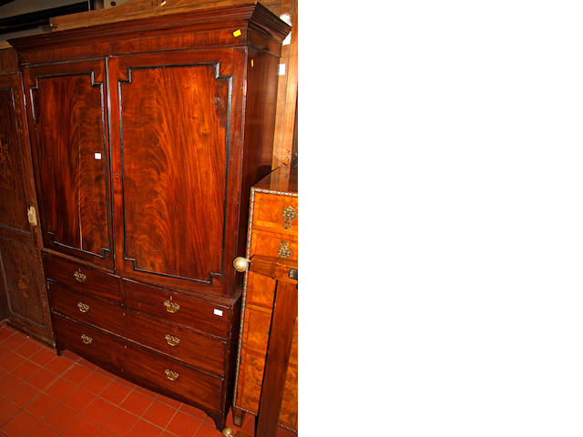 A George IV mahogany linen press