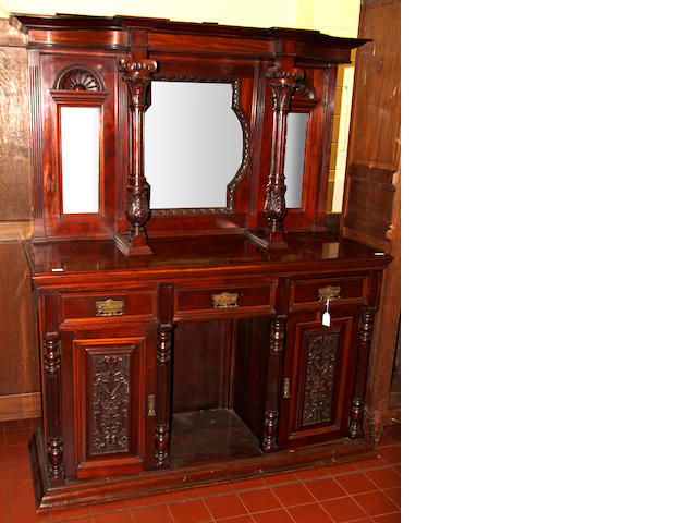 An Edwardian mirror backed sideboard
