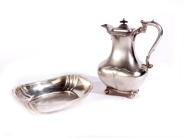 A silver hot water pot by J. Dixon and Sons, Sheffield 1912  (2)