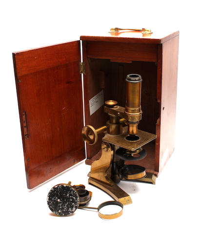 An early 20th century brass microscope Engraved Bryson, Edinburgh