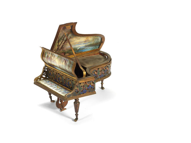 A good Viennese gilt metal and pictorial enamel grand piano form musical box, circa 1910,