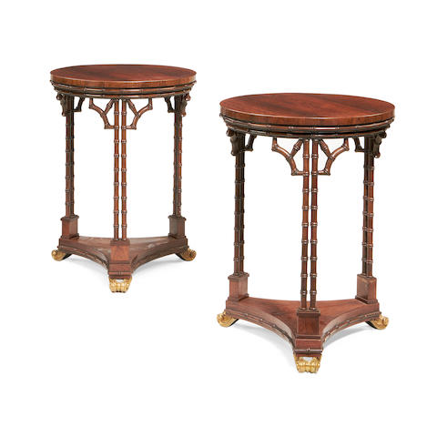 A pair of French late 19th/early 20th century rosewood occasional tables in the Louis XVI style