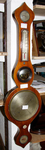 A 19th Century mahogany and boxwood strung wheel barometer