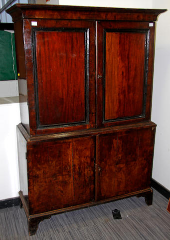 A George II walnut linen press