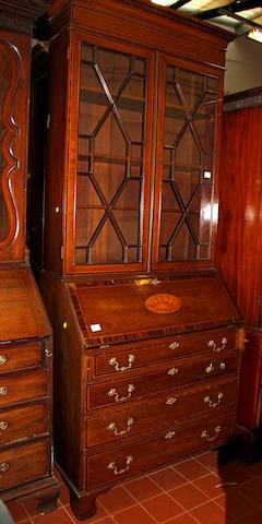 A good mahogany bureau bookcase, circa 1900