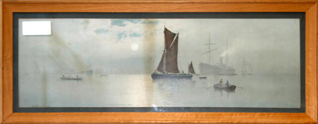 George Stanfield Walters (British, 1838-1924) Sailing Barge 16cm x 50cm.