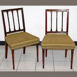 A pair of George III stick back dining chairs,