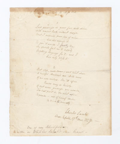 LAMB, CHARLES (1775-1834) AUTOGRAPH MANUSCRIPT OF HIS POEM 'A STRANGER'S TRIBUTE TO MISS HILL', signed and dated, 1829