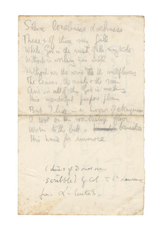 LAWRENCE, THOMAS EDWARD (1888-1935, 'Lawrence of Arabia') POETICAL MANUSCRIPT IN HIS HANDWRITING