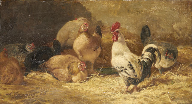 Charles Émile Jacque (French, 1813-1894) Chickens in a barn