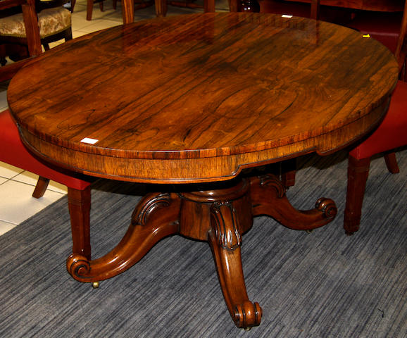 A Victorian rosewood breakfast table
