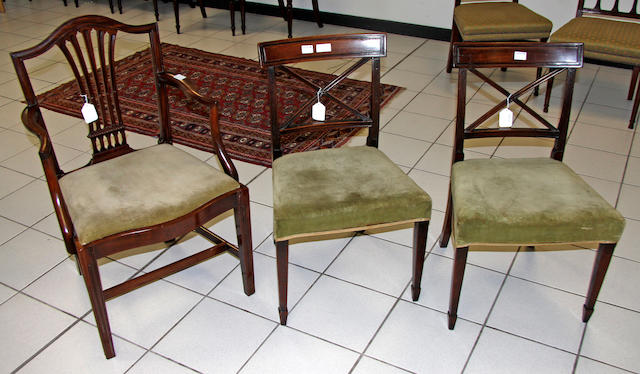 A set of six late George III mahoagany bar back dining chairs