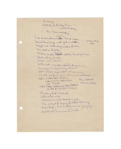 LINDSAY, VACHEL (1879-1931, American poet) AUTOGRAPH MANUSCRIPT OF HIS CELEBRATED POEM 'THE CONGO A STUDY OF THE NEGRO RACE'